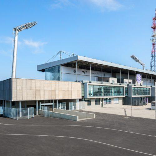 """Architekturfotografie von Beatrix Kovats des Fußballstadions """"Generali Arena"""" vom Fussballclub Austria Wien"""